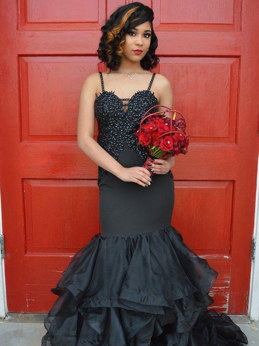 Beaded spaghetti strap prom dress black mermaid quinceanera princess