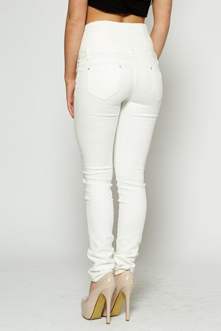 7c0a606827c3 Awesome White Jeans for Women : White High Waisted Skinny Stretch Jeans