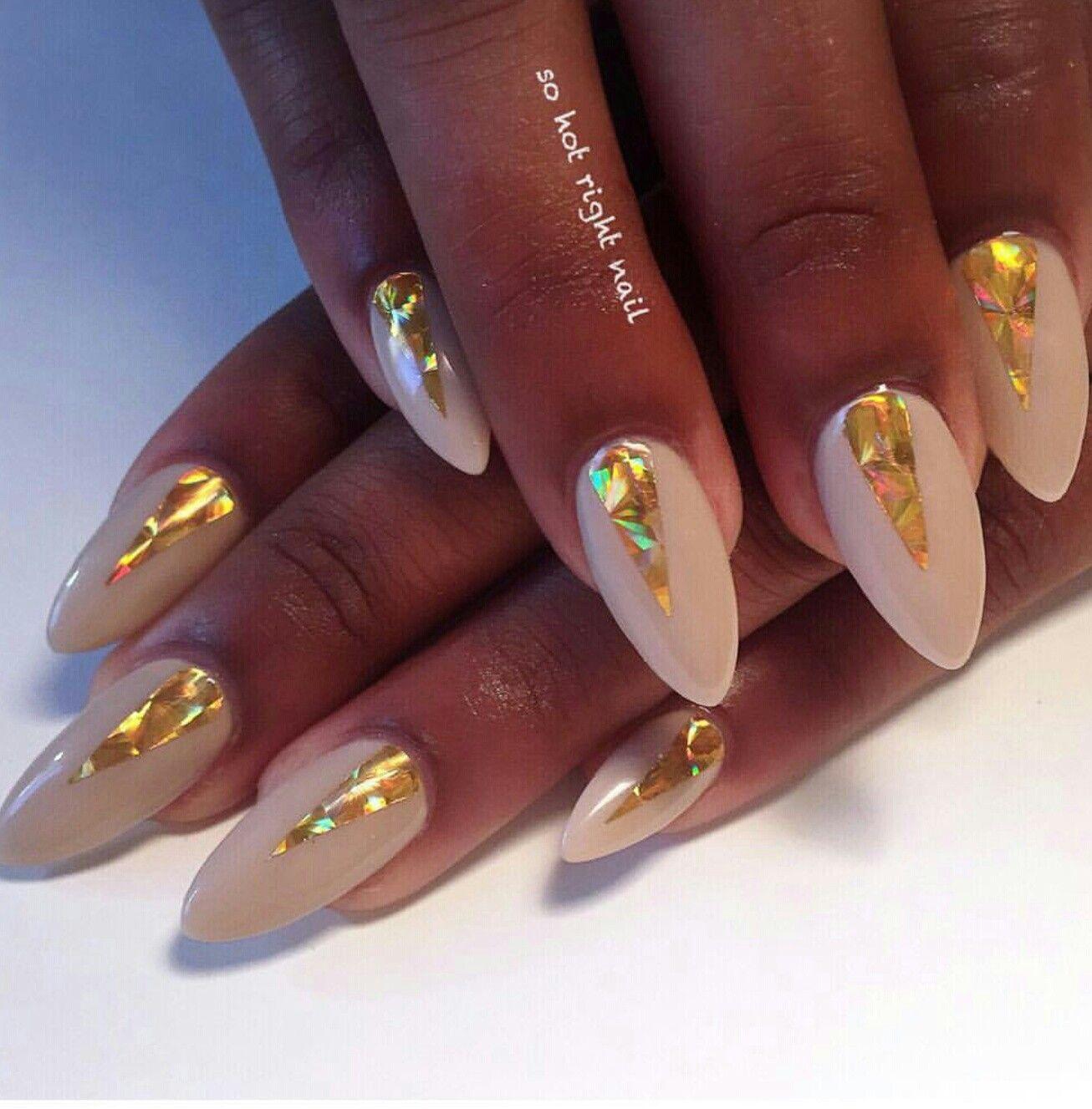 White & gold holo foil nail art | Nail Art | Pinterest