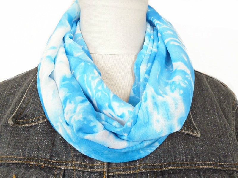 Blue Boho Chic Scarf Tie Dye Hippie Bohemian Infinity Scarf - Turquoise White Circle Scarf by ModaBellaScarves on Etsy