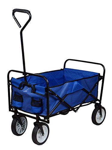 TMS Folding Collapsible Utility Wagon Garden Cart Shopping Buggy Yard Beach  Cart Toy Sports Blue *** For More Information, Visit Image Link.