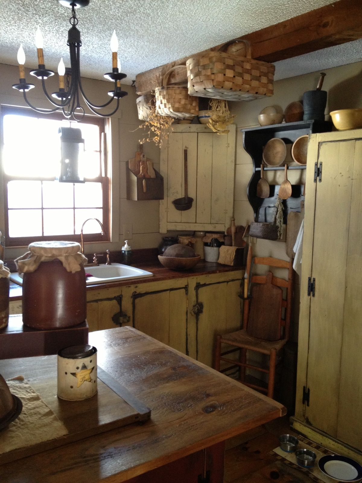 Prim Mustard Kitchen Tiny House Kitchen Primitive
