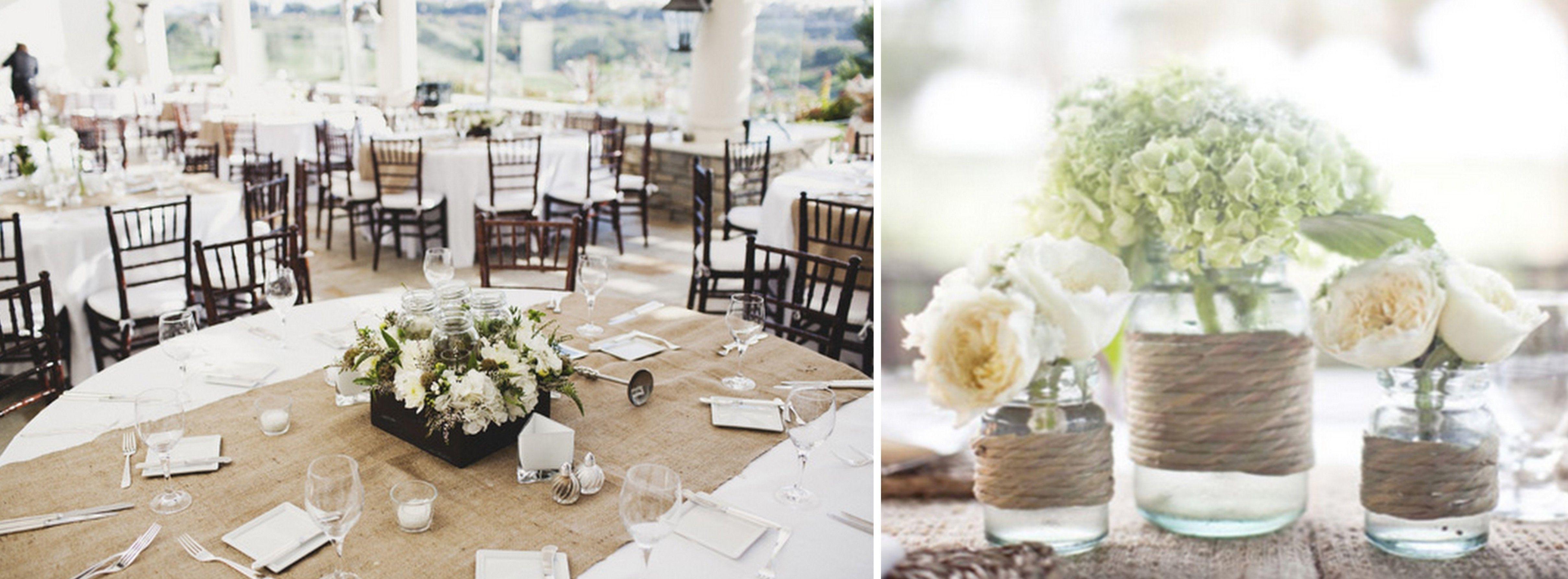 Elegant Burlap Table Runner Twine Wred Vases Megan Pinterest