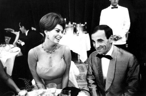 Sophia Loren et Charles Aznavour, 1961.