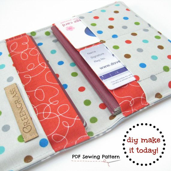 Family passport holder PDF Sewing Pattern, for 2 two passports, for ...