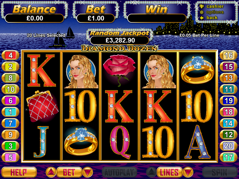 Play the online casino video slot game Diamond Dozen for