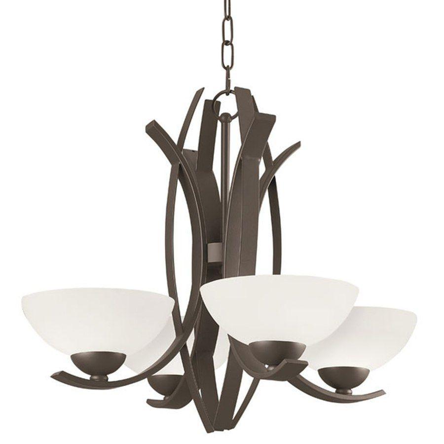 Shop Portfolio Lebach 4Light Aged Bronze Standard Chandelier At Pleasing Lowes Dining Room Light Fixtures Inspiration Design