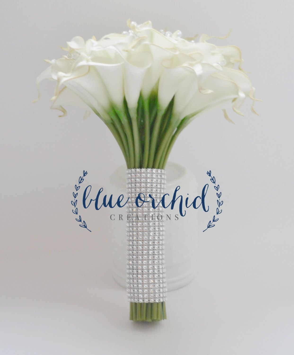 Real Touch Calla Lily Bouquet With Rhinestone Stem Wrap Calla Lily