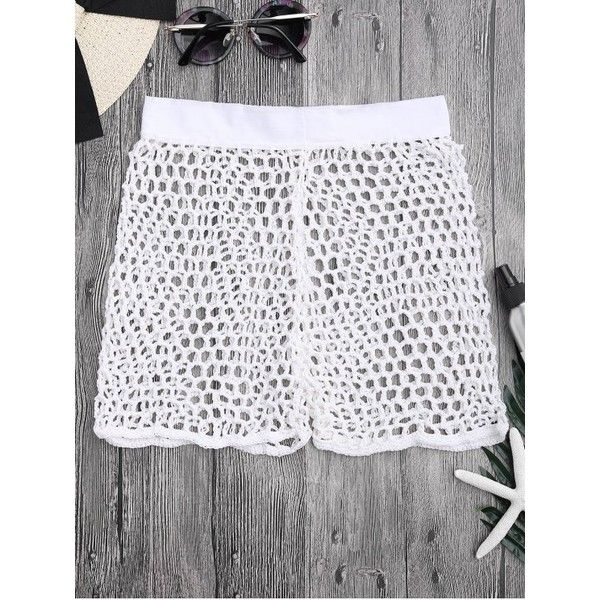 Crochet Fishnet Beach Cover Up Shorts 14 Liked On Polyvore