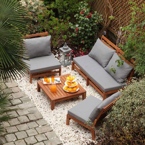 Salon de jardin en acacia Riposo GreenPath Canapé + 2 faut + table ...