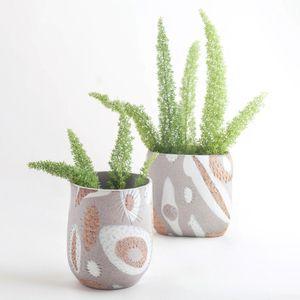 Image of Granite Amber Porcelain Inlay Vases