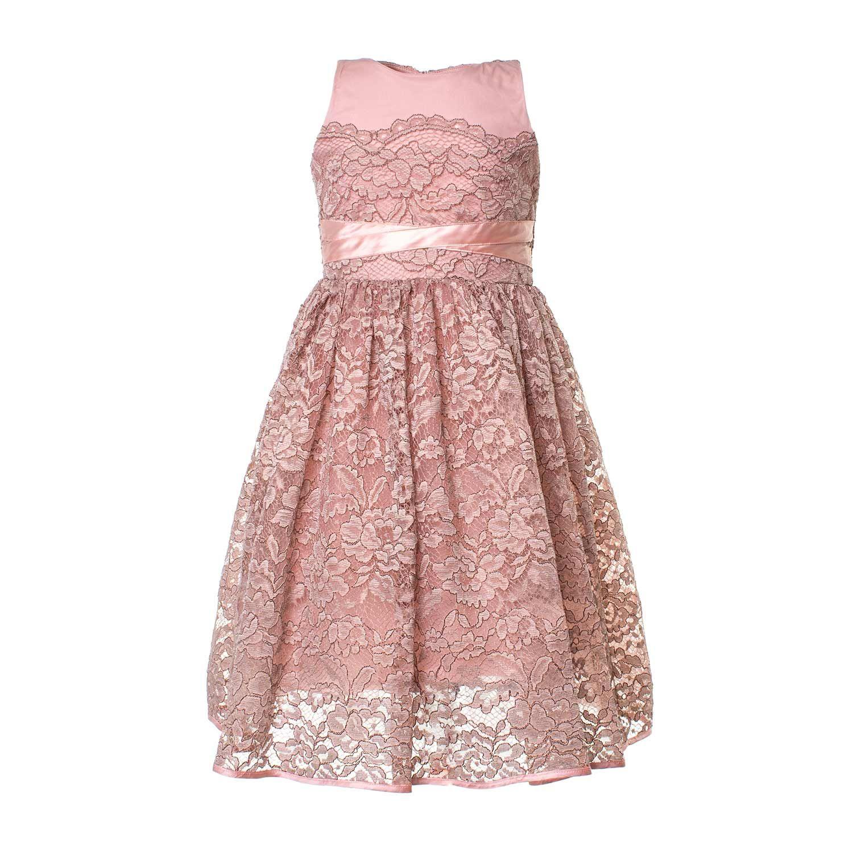 ee05ece96261 Pinko - Abito Pizzo Rosa Bambina - Elegante abito lungo in pizzo rosa  antico firmato Pinko