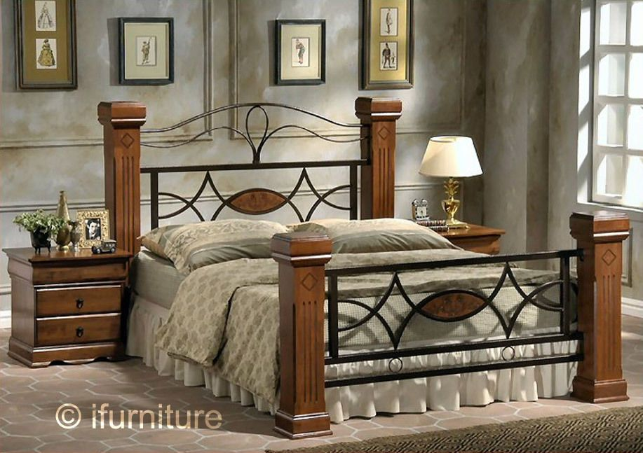 Omega Double Bed Oak Metal Traditional Design Fast Free Uk Delivery 3 Days Ebay King Size Metal Bed Frame Bed Frame Design Wooden Bed Frames