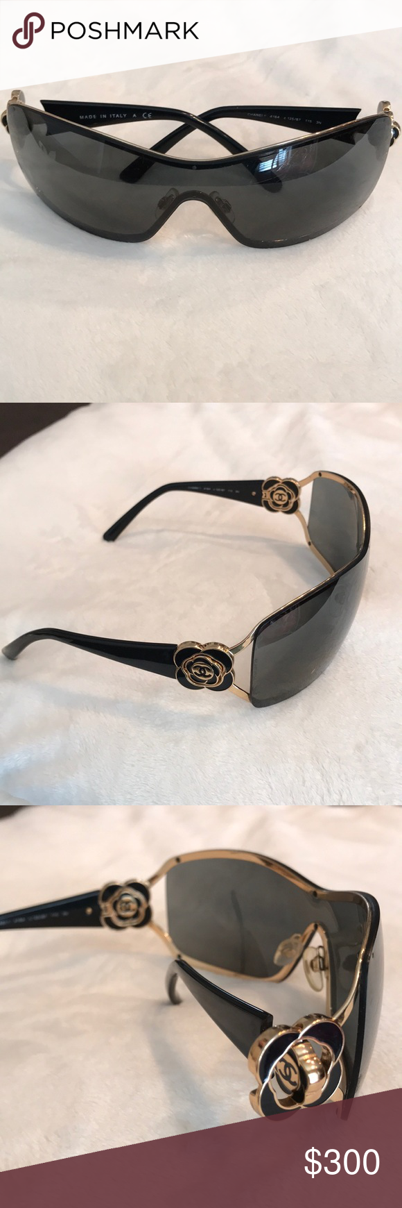 4e3932f729d Chanel Flower Sunglasses🏴 These cute sunglasses have one continuous front  lenses and gold and black