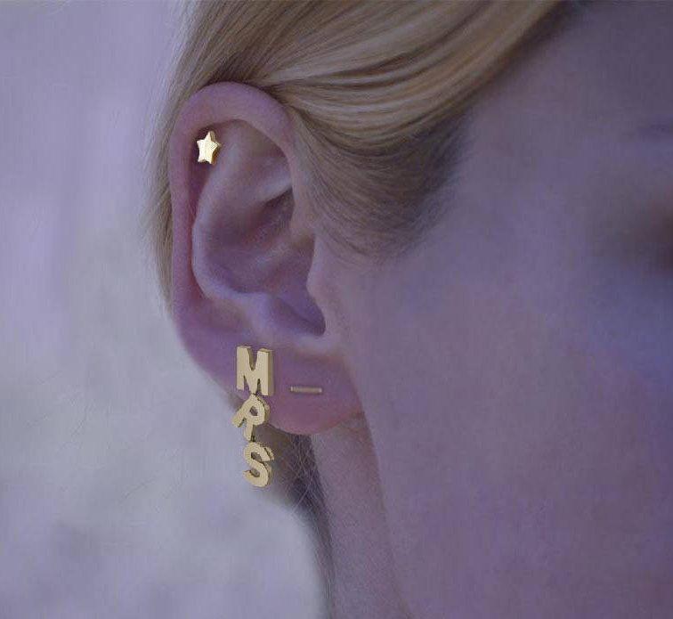 Christmas Gift Vertical Name Earring Initial Stud Earrings 14k Studs By Gvantsasfinedesigns On Etsy