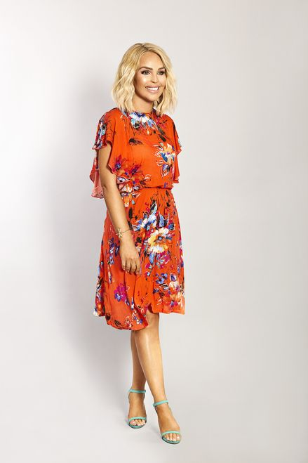 c32261a8b45 Katie Piper Orange Floral Skater Dress - Want That Trend