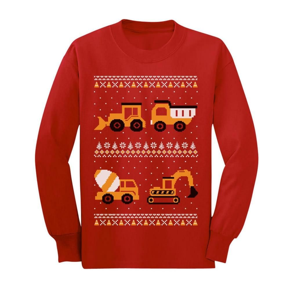 Tractors /& Bulldozers Ugly Christmas Sweater Toddler//Kids Long sleeve T-Shirt