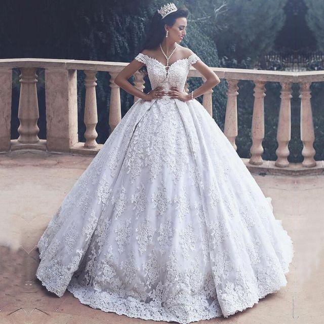 Luxury Arab Wedding Dresses Turkey Puffy Ball Gown Off the Shoulder ...