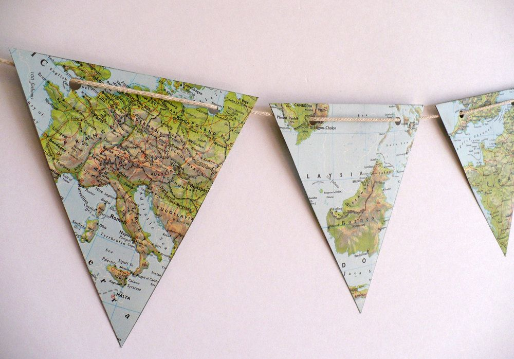 WORLD MAP paper bunting vintage atlas map bunting party decoration - best of world map fabric bunting