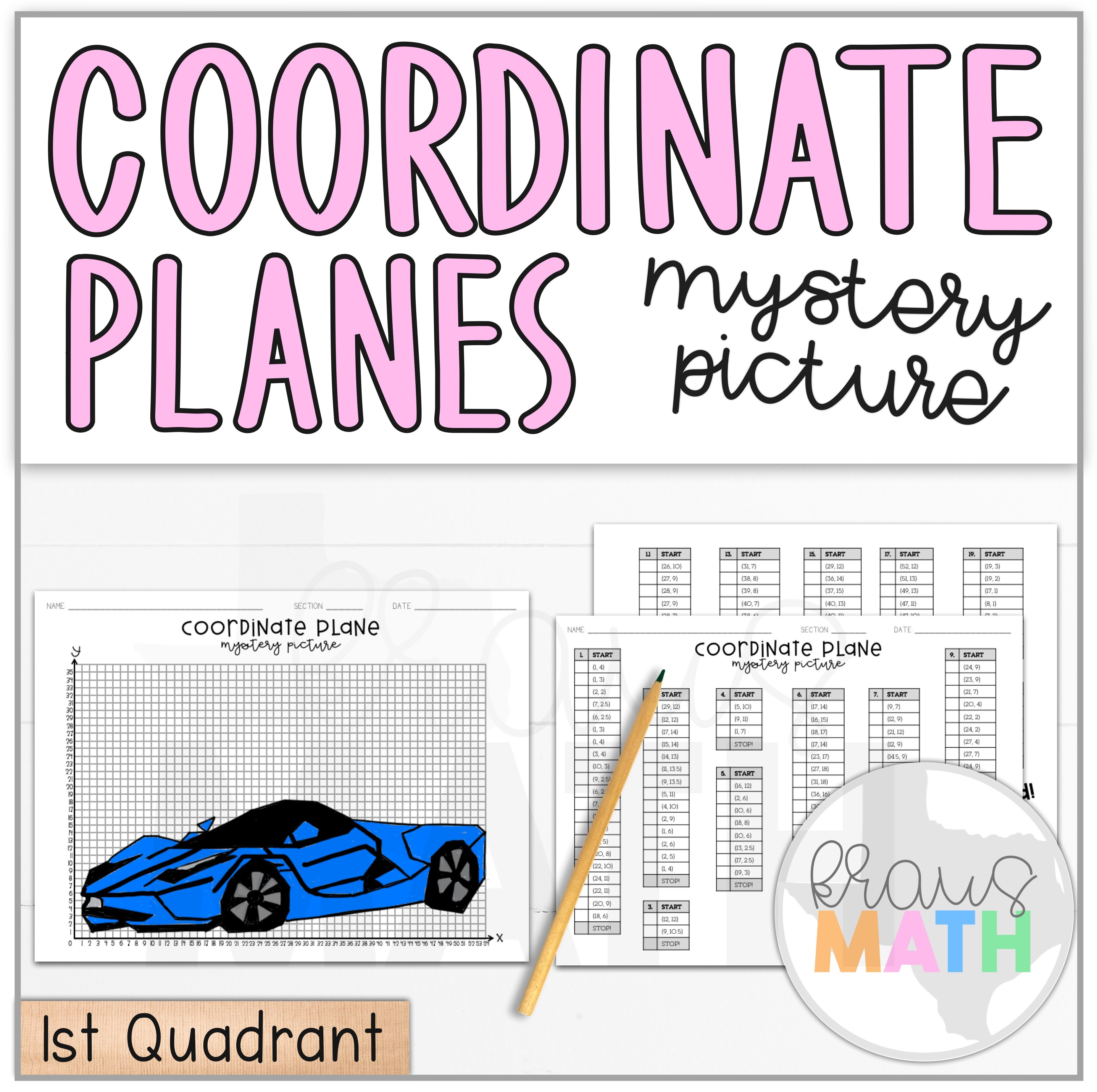 Sports Car Aston Martin Coordinate Plane Activity 1st