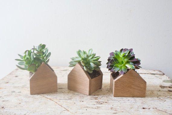 Planter Set Of 3 Tiny Home Plant Box House Shaped Natural Oak Wood For Succulents Terrarium Air Plant Set Wood Succulent Planter Succulent Planters Box Planter Boxes House