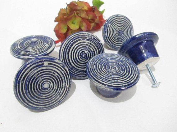 Blue Door Handles, Bespoke Cabinet Knobs, Ceramic Knobs, Blue Knobs ...