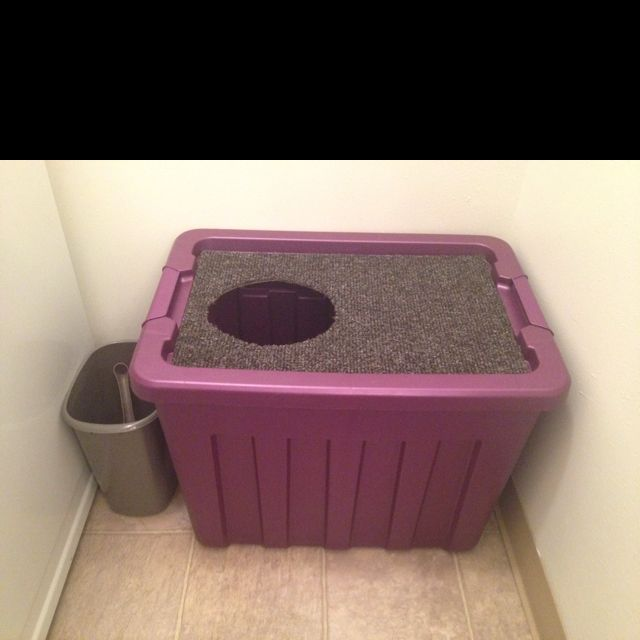 Charmant Cleanest Cat Litter Box Ever. Made It In 15 Min For 10$ With A Plastic Storage  Bin And A Dollar Store Carpet Mat.
