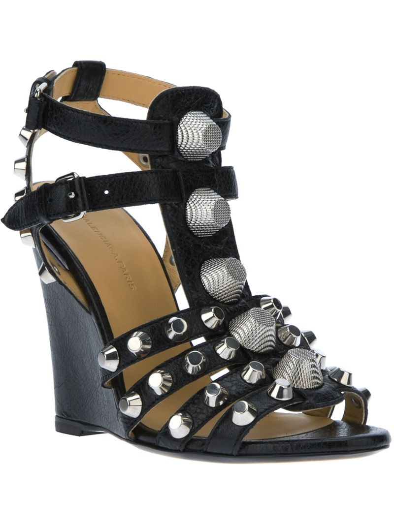 6acc6254fab7 Balenciaga Studded Wedge Sandal. Visit www.chicaholics.com for details.