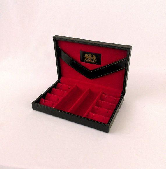 Vintage Mens Jewelry Box Striking Black Cufflink Box Mens Jewelry