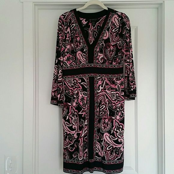 INC International Concepts Pink Paisley Dress INC International Concepts Pink Paisley Sheath Dress with 3/4 length sleeves. The dress is pink, black, & white.  The dress is very flattering on with the black band sinching in at the waist.  The dress falls at just below the knees.  The dress is in Excellent condition and was worn once to the theater. Smoke free residence. INC International Concepts Dresses