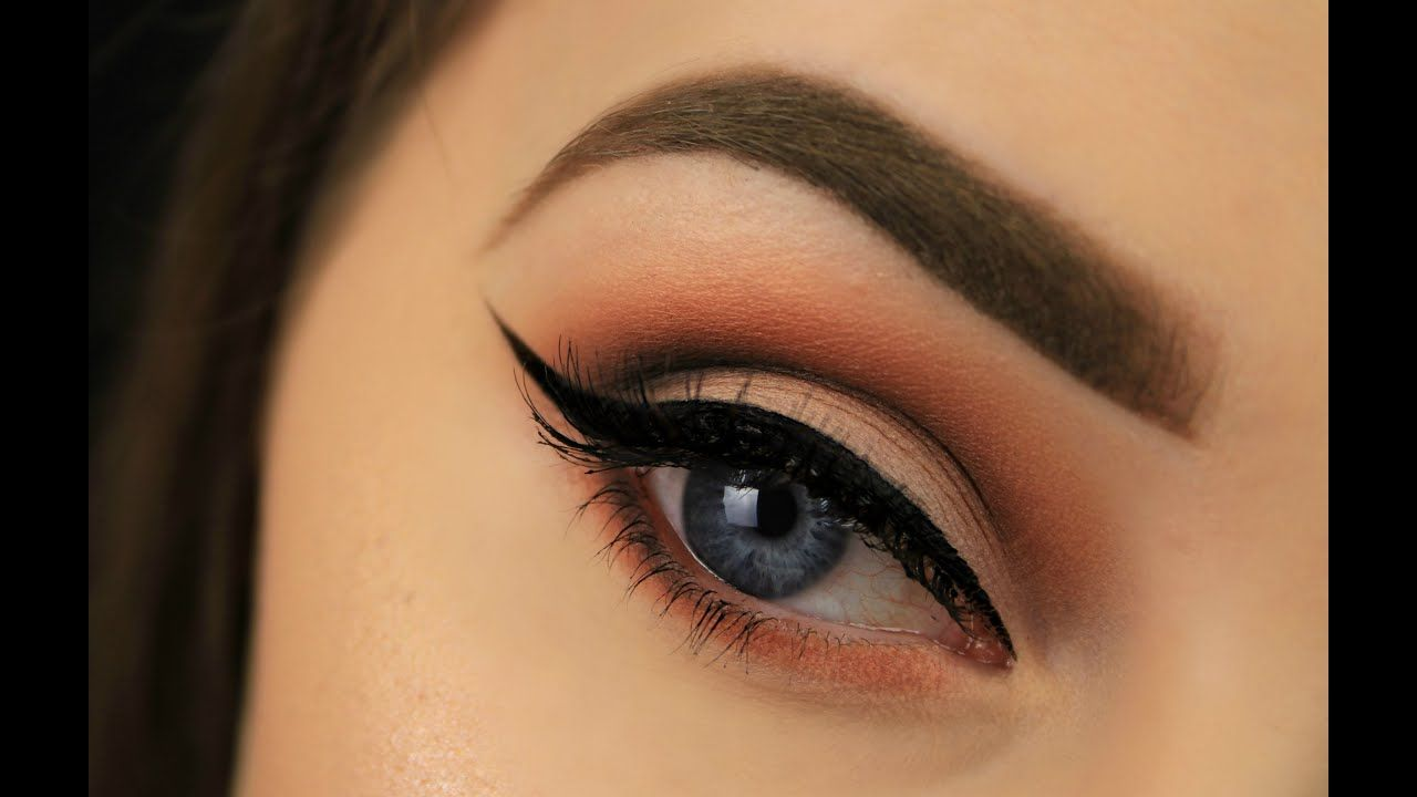How to make blue eyes pop orange smokey eye youtube