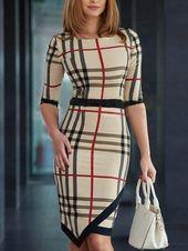 Photo of Shop – Kleid mit unregelmäßigem Saum und kontrastierendem Karodruck – Entdecken Sie …,  #En…