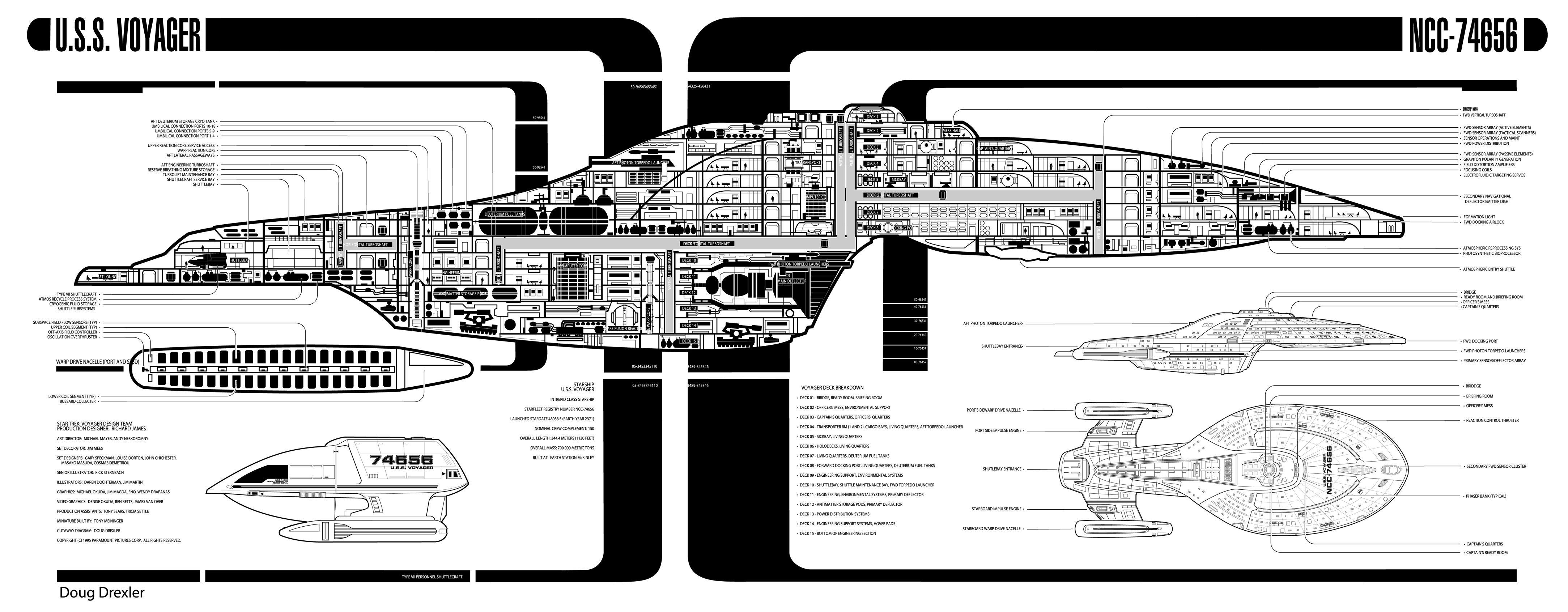 Star trek voyager spacecraft - Intrepid Class Starship Uss Voyager Ncc 74656 Cut Away Blueprint Outline Star