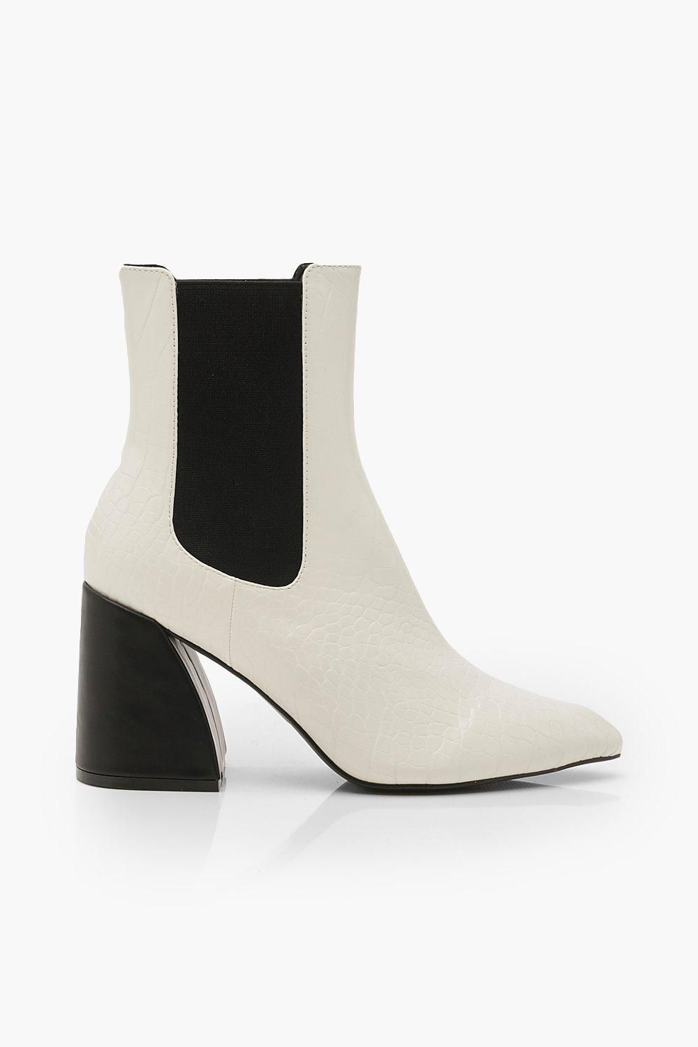Flare Heel Boots 10Products Chelsea white Womens in PkuwTZiOXl
