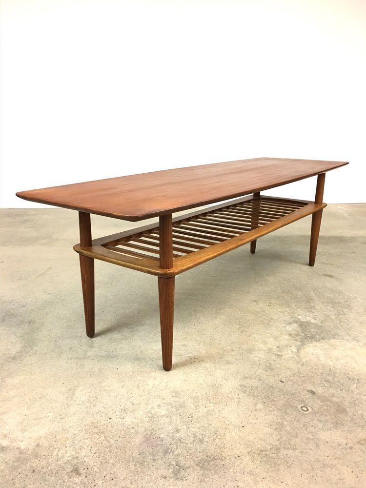 Danish Modern Teak Oak Coffee Table Hm Denmark Mid Century