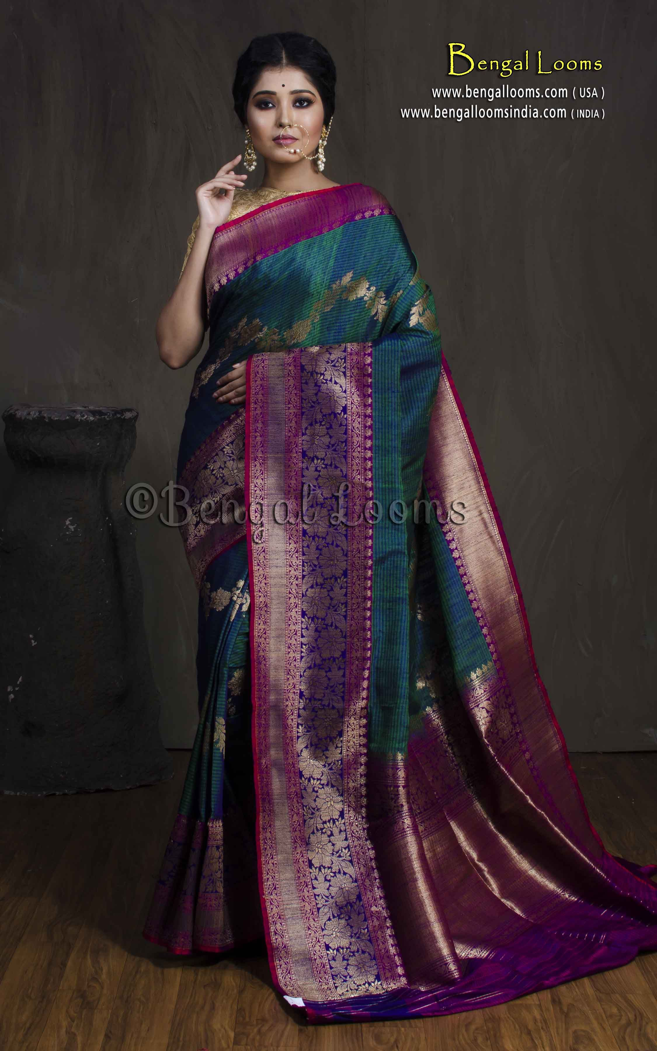 9529161f9c2b0d Tussar Banarasi Saree with Woven Work in Peacock Blue and Purple ...