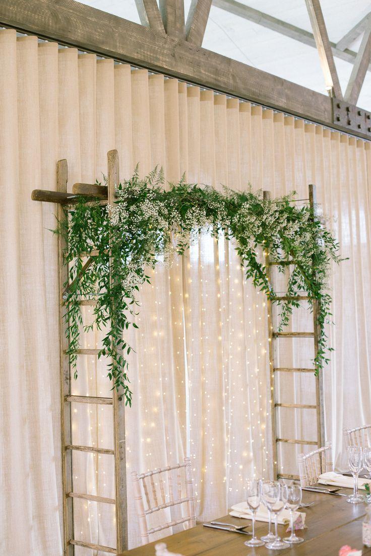 Backdrop Ladder Foliage Greenery Fairy Light Installation Barn At Barra Castle Wedding Ceranna Photography…