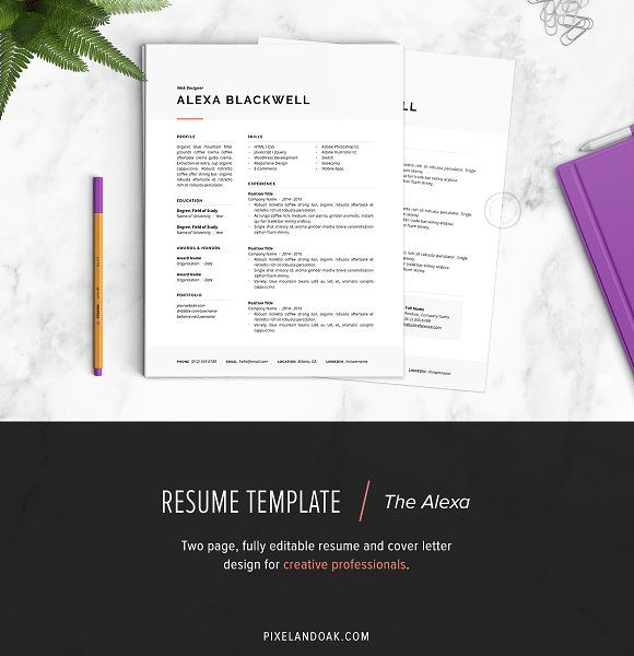 Resume Template The Alexa Pinterest Template, Resume cover - apple pages resume templates
