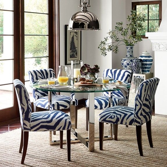 Fitzgerald Side Chair Williams Sonoma Home Printed Zebra Ikat Blue Grade B