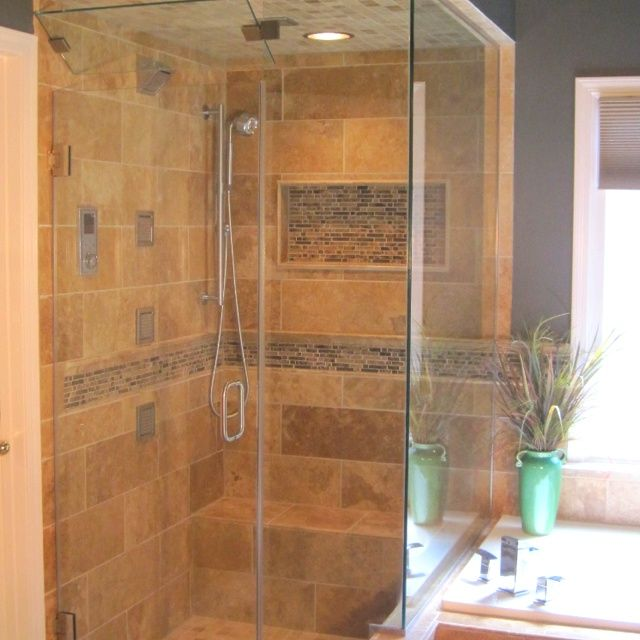 Glass Tile Bathroom Designs Mesmerizing Travertine Shower With An Accent Of Glass Mosaic #tile Inspiration Design