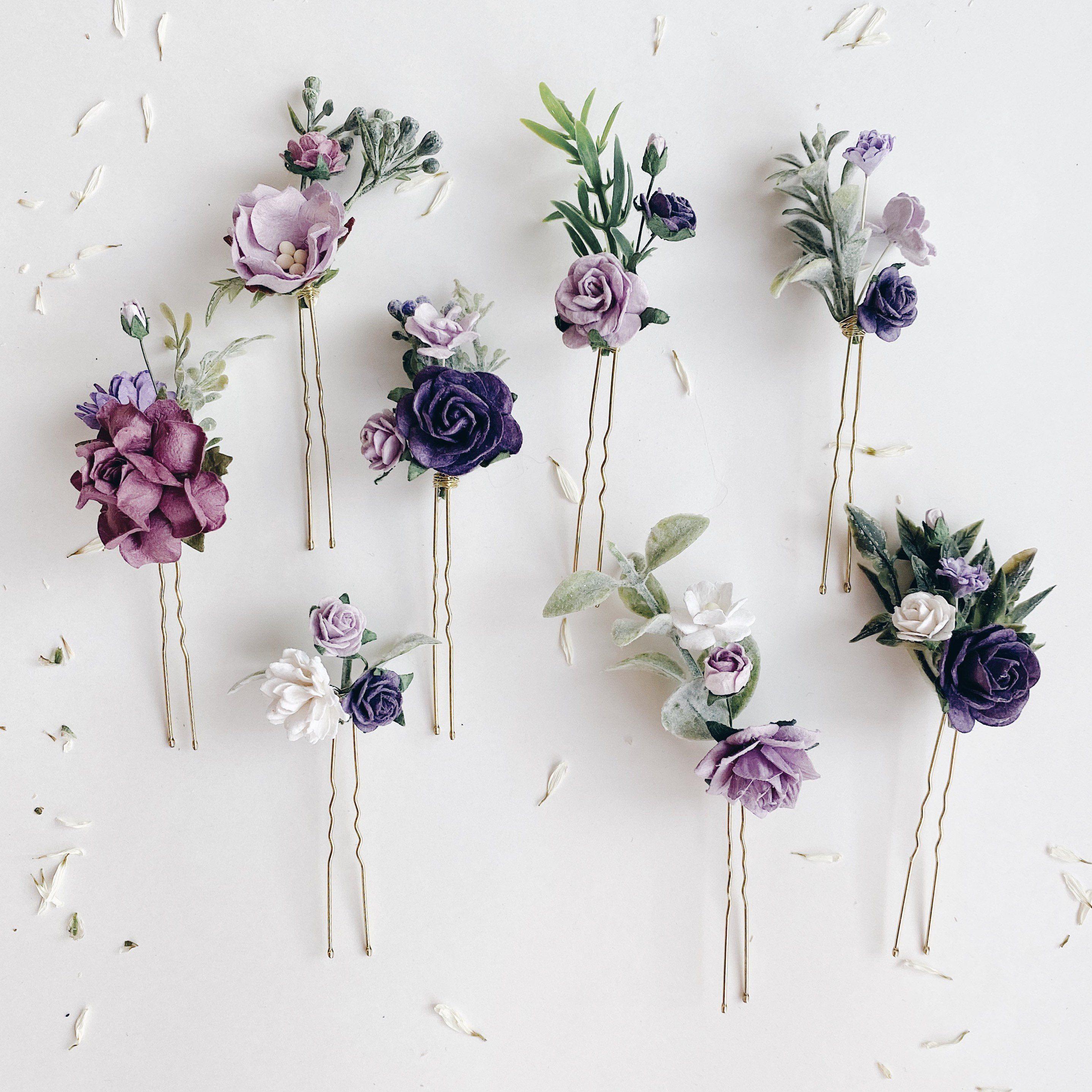 Flower Hair Pins Lilac Hair Flowers Set Of Hair Pins Bridal Hair Piece Purple Purple Hair Pins Hair Comb Wedding Lavender Hair Piece In 2020 Flower Hair Pin Flowers In Hair
