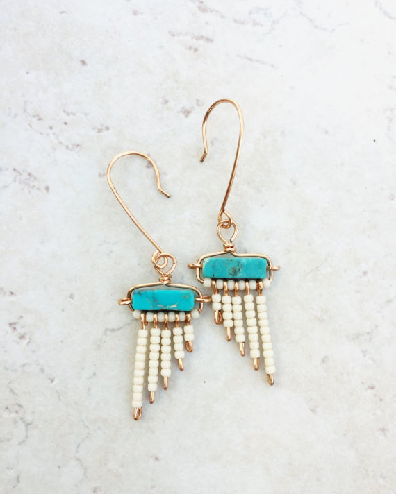 Photo of Turquoise colored fringe earrings >> natural stone jewelry >> pearl fringe earrings >> …