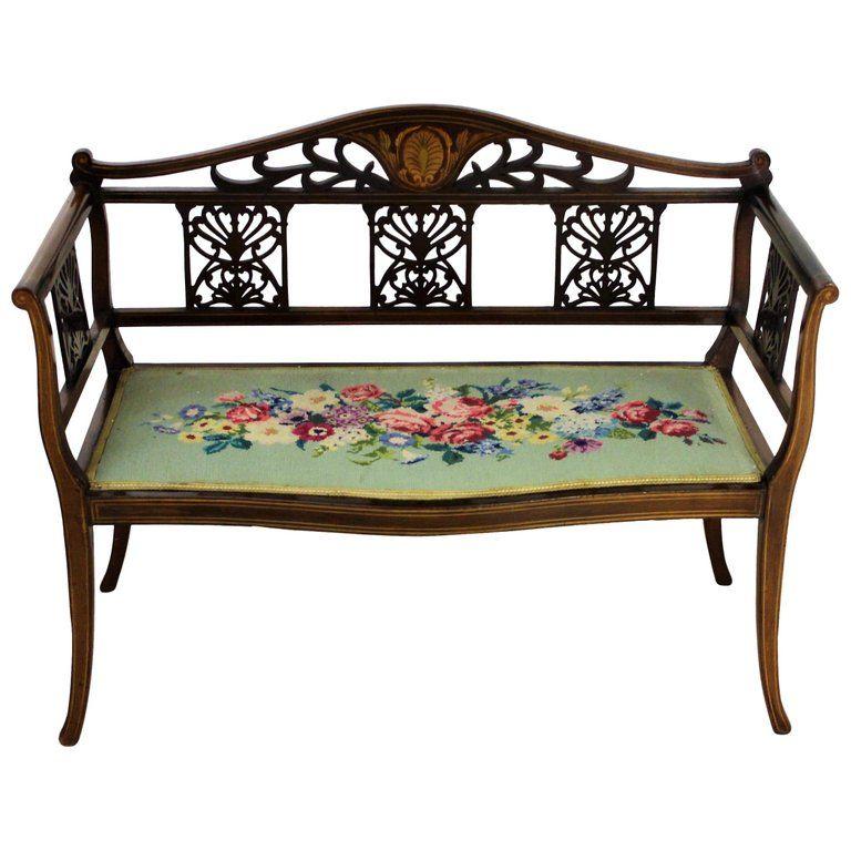 English Edwardian Period Inlaid Mahogany Settee or Bench #edwardianperiod