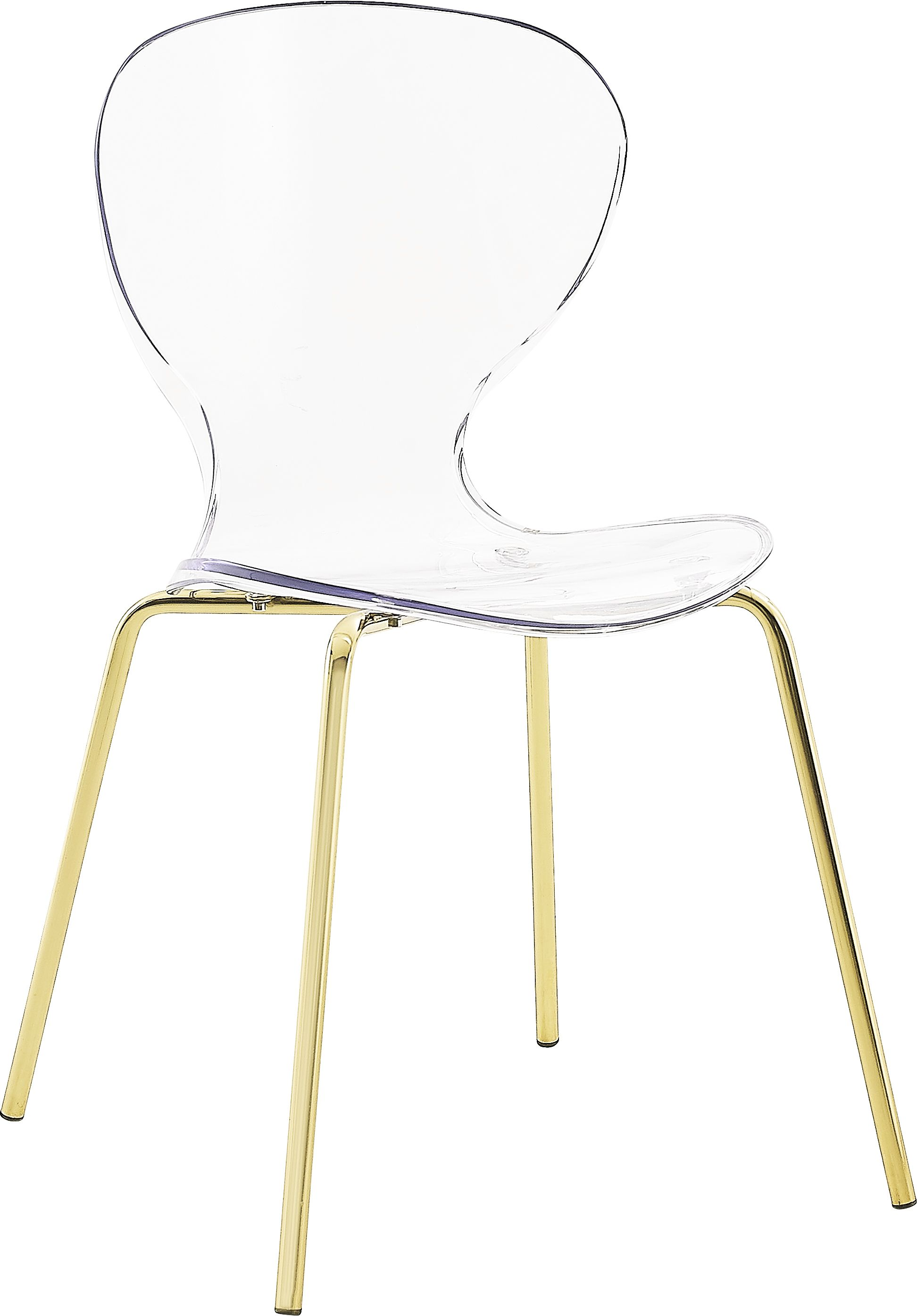 Meridian Clarion Gold Pair Of Clear Dining Chairs In Modern Style