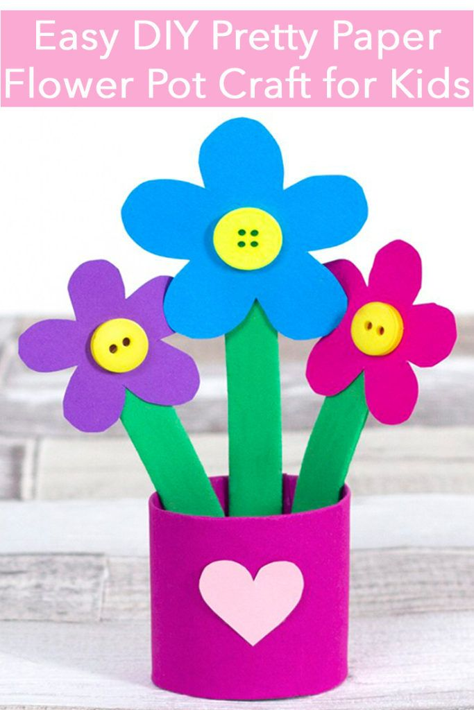 Pretty Paper Flower Pot Craft Flower Pot Crafts Paper Flowers