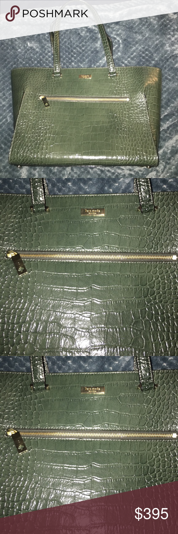Kate Spade ♠️ Green Large Purse Used 2-3 times. Purse is to big and heavy for me since I had 3 spine surgeries. It looks brand new still. Has a zipper poker in the inside and two open pockets as well. On the outside it has a zipper poker as well. I love the color green. I hate to part with it but I can no longer use it or near future. A huge lost for me and a bigger gain for you. No low balling please this authentic Kate Spade and already at a great price. Free of scratches or stains. Smoke…