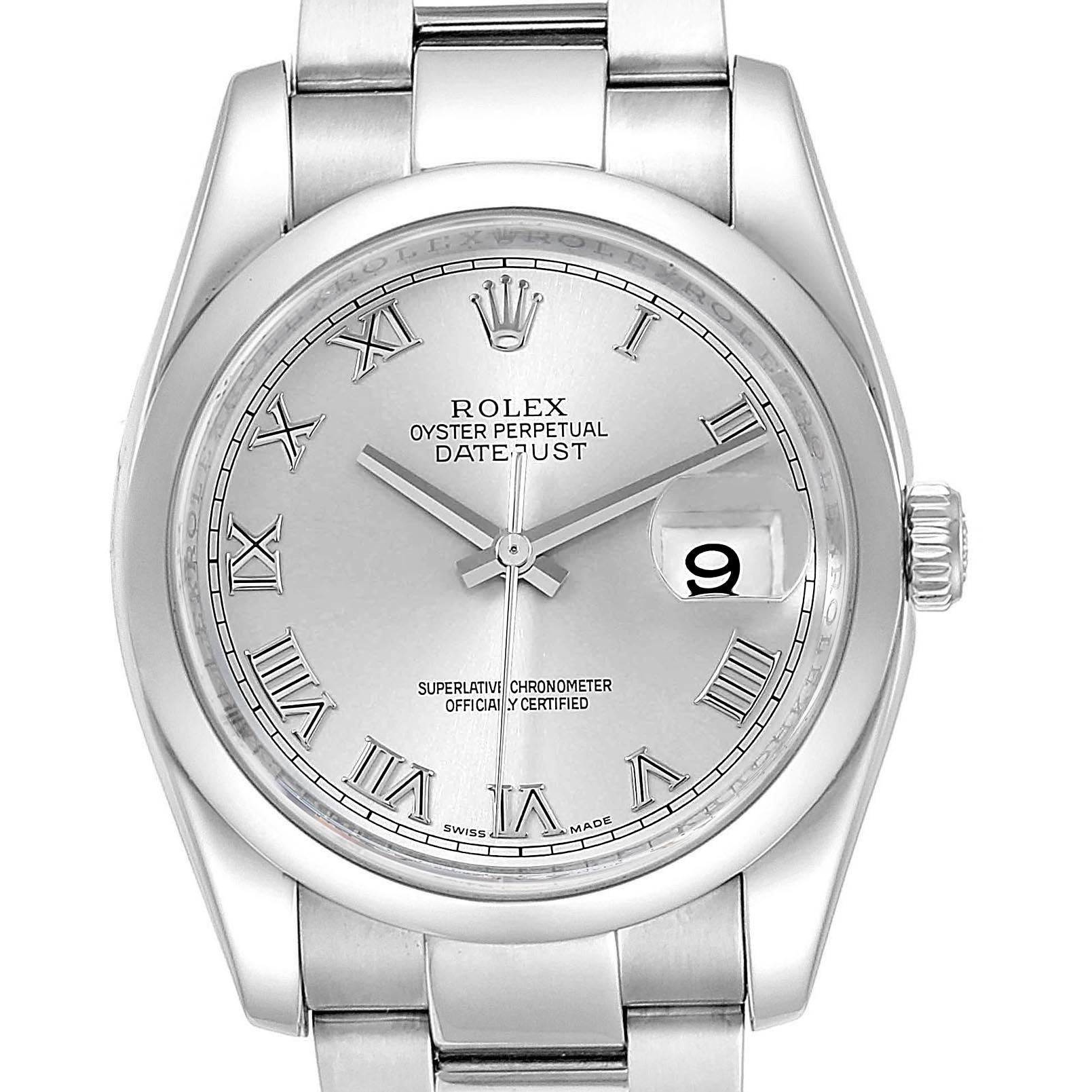 Rolex Datejust 36 Silver Roman Dial Oyster Bracelet Mens 116200