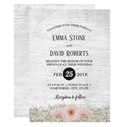 Rustic Daisy Baby S Breath Floral Wedding Invitation Zazzle Com Wedding Invitations Rustic Floral Wedding Invitations Hydrangeas Wedding