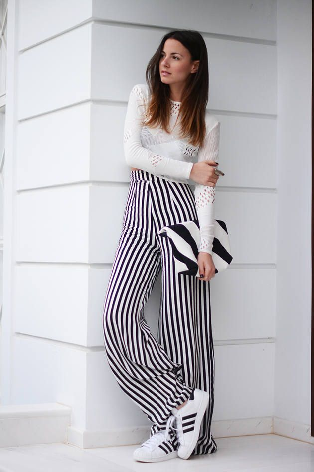 How to high wear waisted striped shorts foto