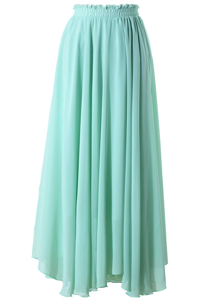 Light Green Long Maxi Skirt - Skirt - Bottoms - Retro, Indie and Unique Fashion